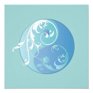 """Movimiento en sentido vertical Yin y Yang (azules Invitación 5.25"""" X 5.25"""""""