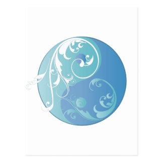 Movimiento en sentido vertical Yin y Yang (azules Tarjeta Postal