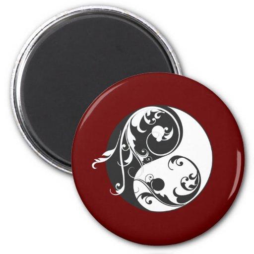 Movimiento en sentido vertical Yin y Yang (negro) Iman De Frigorífico