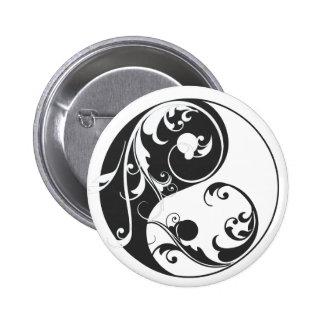 Movimiento en sentido vertical Yin y Yang (negro) Pin Redondo De 2 Pulgadas