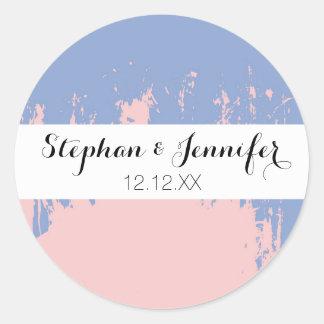 Movimientos azules del cuarzo color de rosa y de pegatina redonda