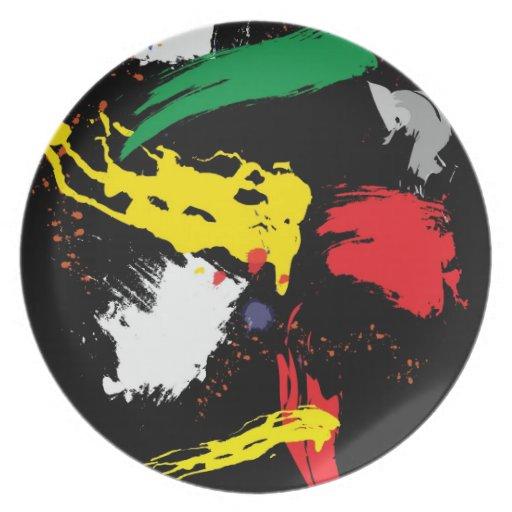 Movimientos coloridos del cepillo platos