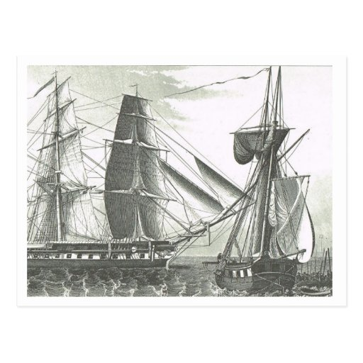 Movimientos de la nave en los 1800s del mar tarjeta postal