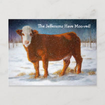 MOVING ANNOUNCEMENT: HEREFORD BEEF COW ANNOUNCEMENT POSTCARD