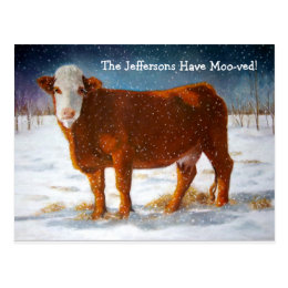 MOVING ANNOUNCEMENT: HEREFORD BEEF COW POSTCARD