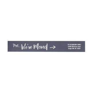 Moving Announcement Holiday Return Address Navy Wrap Around Label