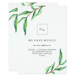 Moving Announcement | Minimalist Green Leaves
