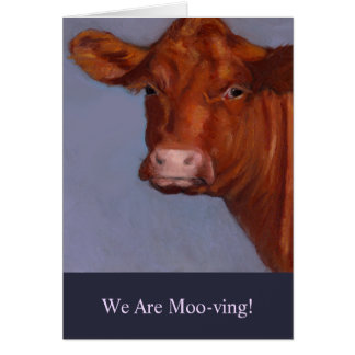 Moving Announcement: Painting of Cow, Moo-ving Card