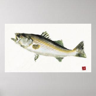 Moving Bass Gyotaku Posters