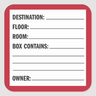 Moving Box Contents Label