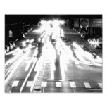 Moving Cars Black And White Photo Art