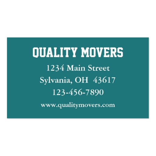 Moving company business card for Moving business cards