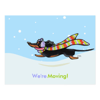 Moving Dachshund Winter New Address Announcements Postcard