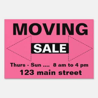 Moving, Estate, Yard or Garage Sale Yard Sign