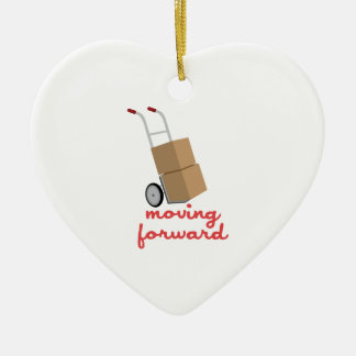 Moving Forward Double-Sided Heart Ceramic Christmas Ornament