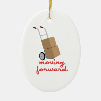 Moving Forward Double-Sided Oval Ceramic Christmas Ornament