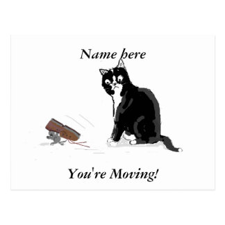 Moving Home, Cartoon cat and mouse, add text Postcard