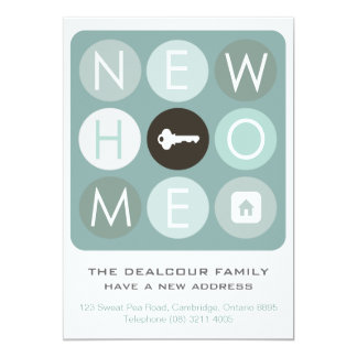 """Moving House Announcement - Blue Modern Typography 5"""" X 7"""" Invitation Card"""