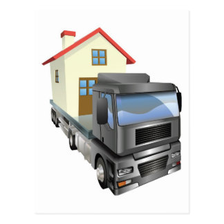 Moving house truck concept postcard