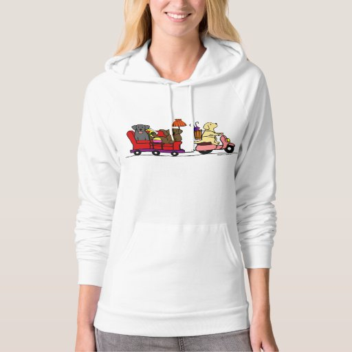 Moving Labradors Cartoon Hoodie