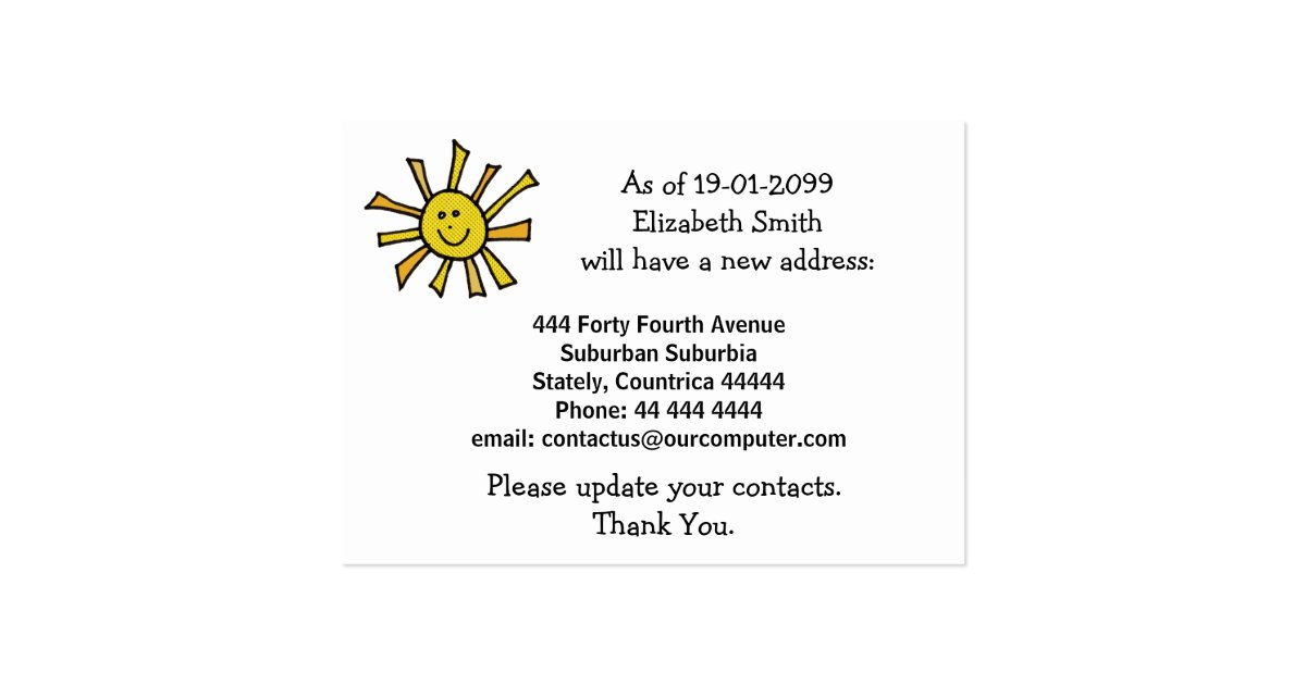 Moving out change of address notification cards zazzle for Change of address note cards
