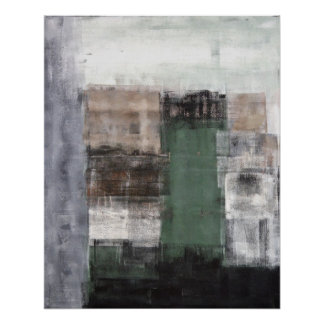 'Moving Over' Green and Brown Abstract Art Poster