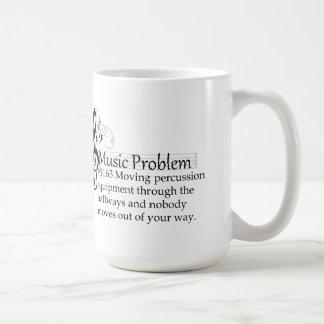 Moving percussion equipment through the hallways classic white coffee mug
