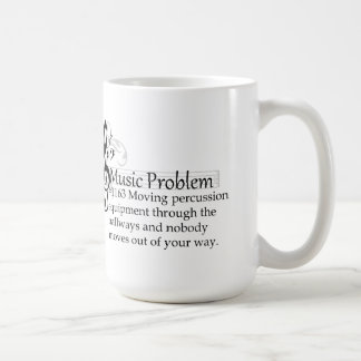 Moving percussion equipment through the hallways coffee mug