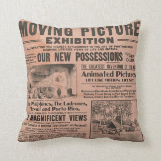 """""""Moving Picture"""" Vintage Newspaper Pillow"""