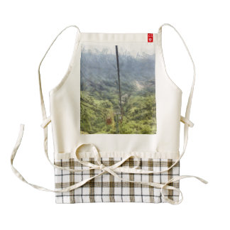 Moving quickly up a mountain zazzle HEART apron