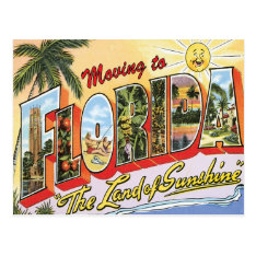 Moving To Florida Vintage Change Of Address Postcard at Zazzle