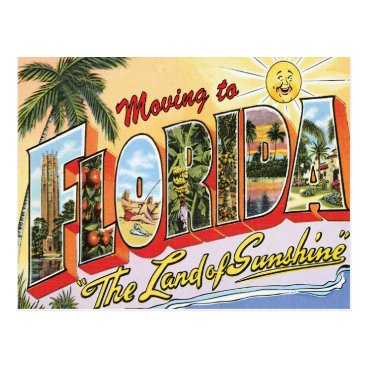 Beach Themed Moving to Florida Vintage Change of Address Postcard