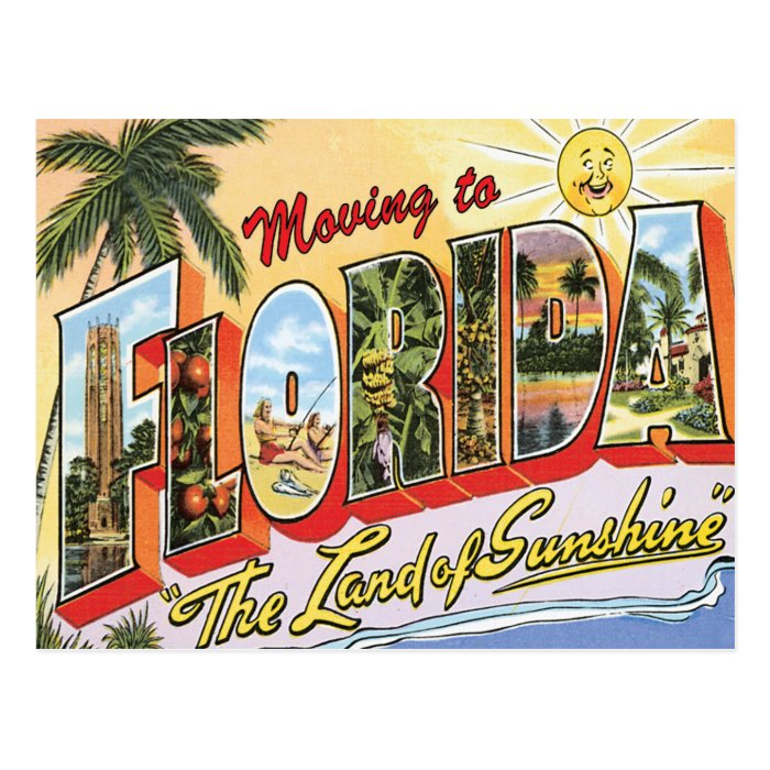 moving to florida vintage change of address postcard