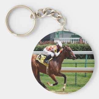 Moving to goal success Horseracing Basic Round Button Keychain