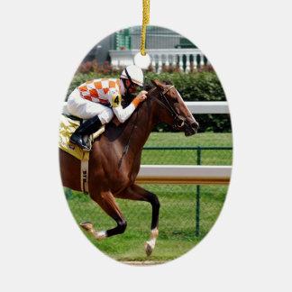 Moving to goal success Horseracing Ceramic Ornament