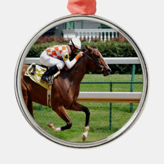 Moving to goal success Horseracing Metal Ornament