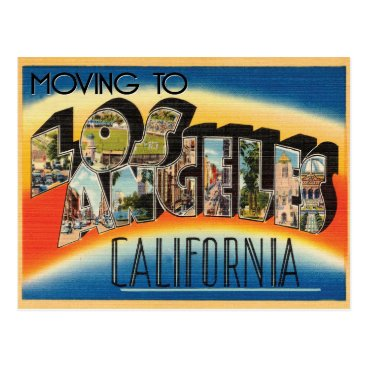 Beach Themed Moving to Los Angeles Vintage Change of Address Postcard