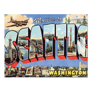 Moving to Seattle WA Vintage Change of Address Postcard