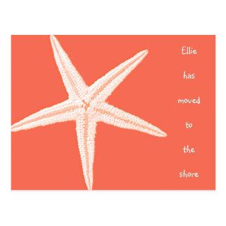 Moving to The Beach Orange Starfish Postcards