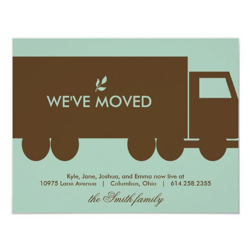 """Moving Truck Moving Announcement Card 4.25"""" X 5.5"""" Invitation Card"""