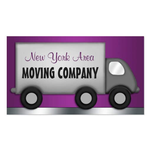 Moving truck purple movers business cards zazzle for Moving business cards