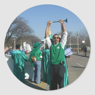 Mow-Bama (Obama) marches with the Lawn Rangers Classic Round Sticker