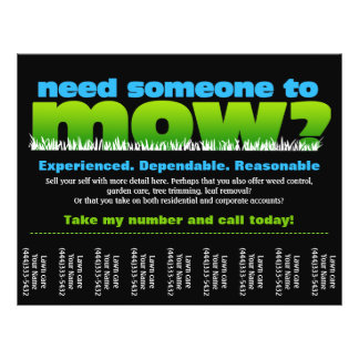 Mow Grass Lawn Care Earn Money Flyers