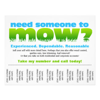 Mow Lawn Care Earn Money Personalized Flyer