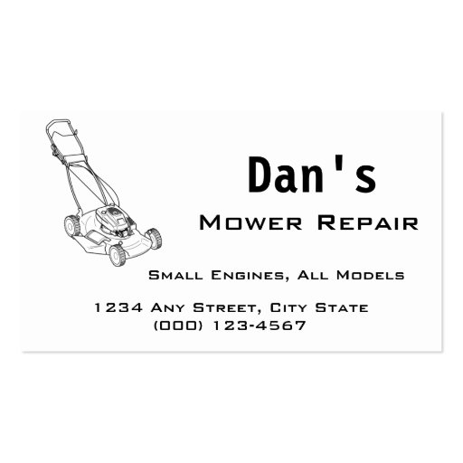 Mower and Small Engine Repair Business Card