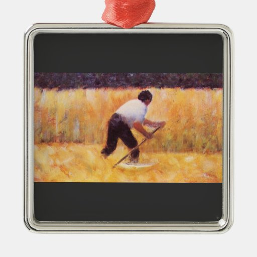 Mowing by Georges Seurat Christmas Ornaments