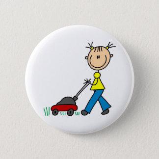 Mowing Grass Stick Figure Button