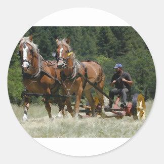 Mowing Hay Classic Round Sticker