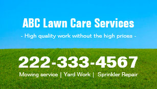 Lawn mowing business cards templates zazzle mowing lawn care green field grass blue sky business card reheart Gallery