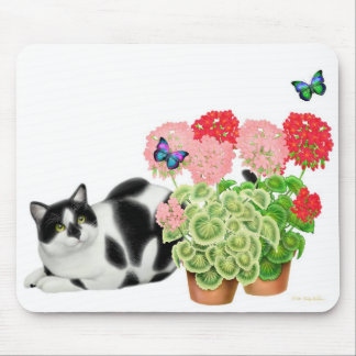 Moxie Cat and Butterflies Mousepad
